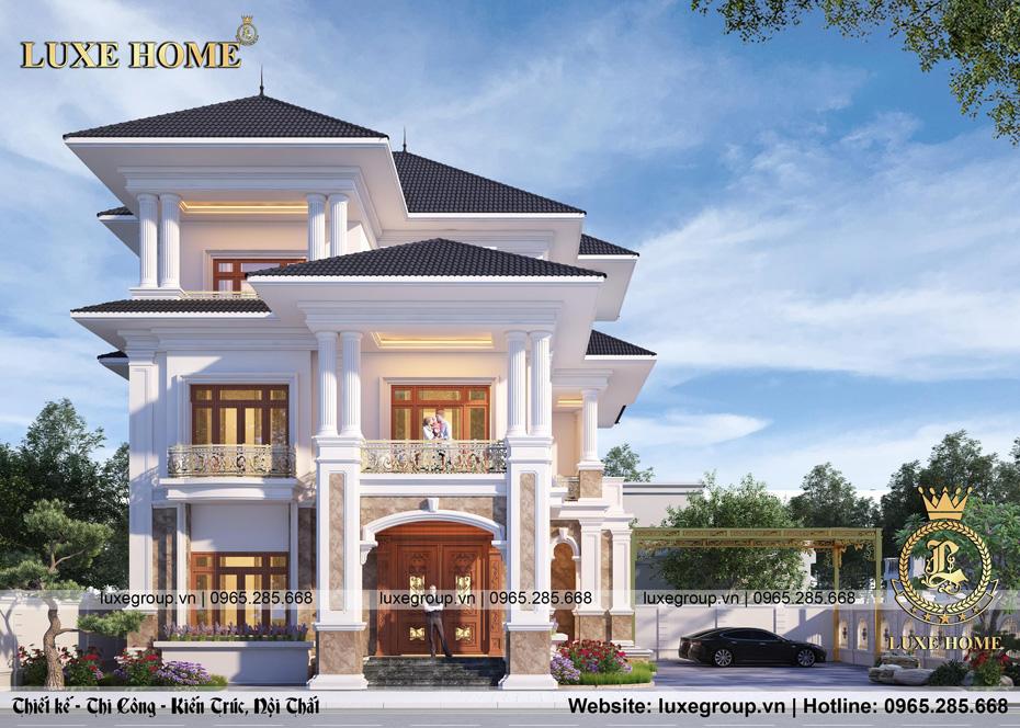 thiết kế biệt thự tân cổ điển 3 tầng bt 3242