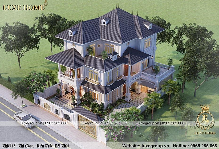 thiết kế biệt thự 3 tầng sân vườn bt 3209