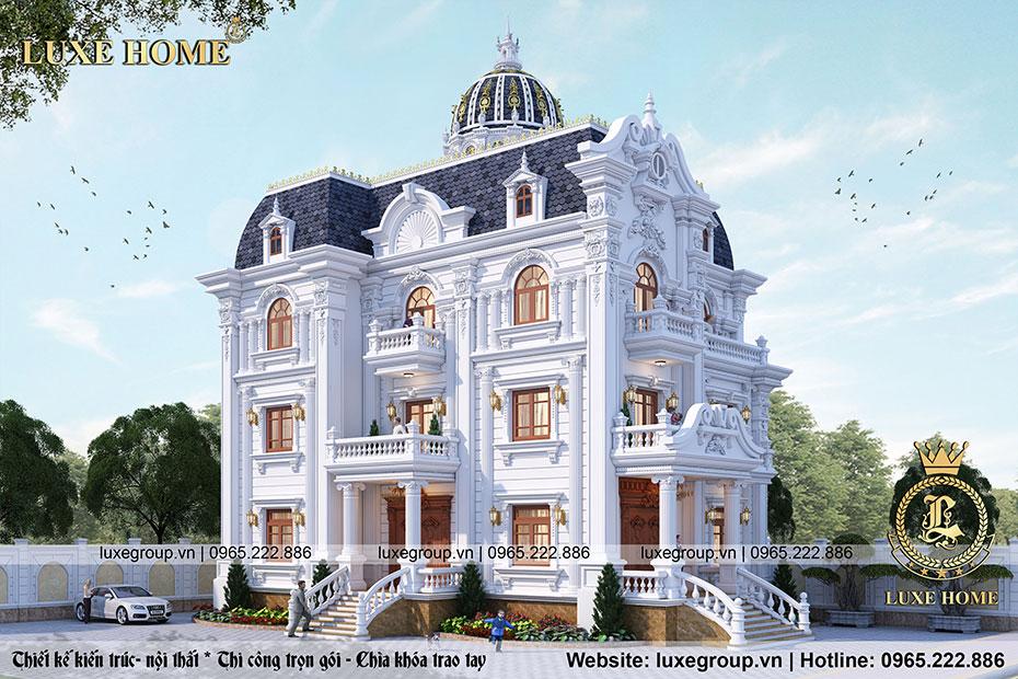 Thiết kế biệt thự 3 tầng pháp mái mansard