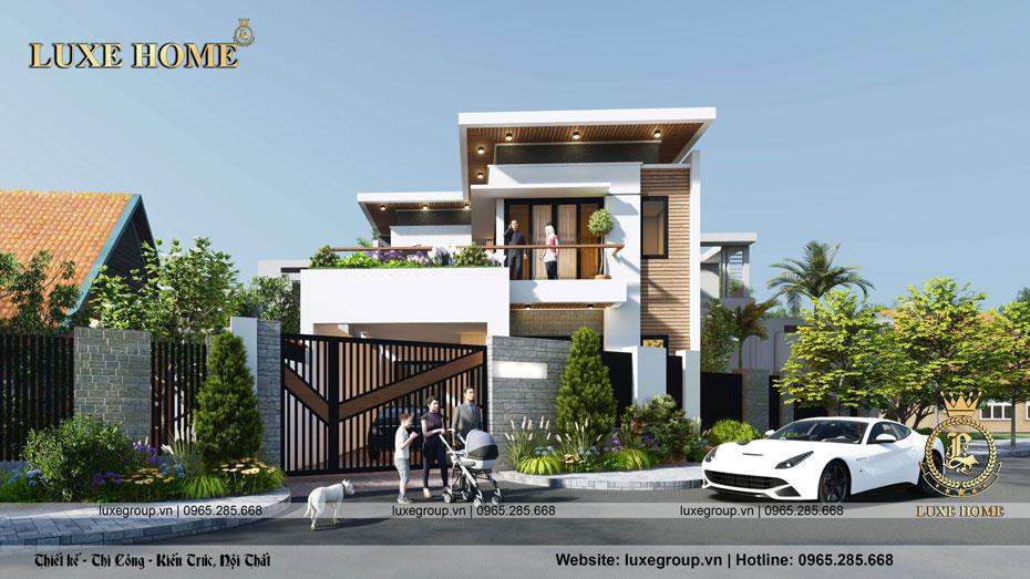 mẫu thiết kế biệt thự hiện đại 2 tầng bt 2138