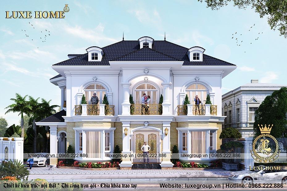 thiết kế biệt thự 2 tầng mái thái bt 2231