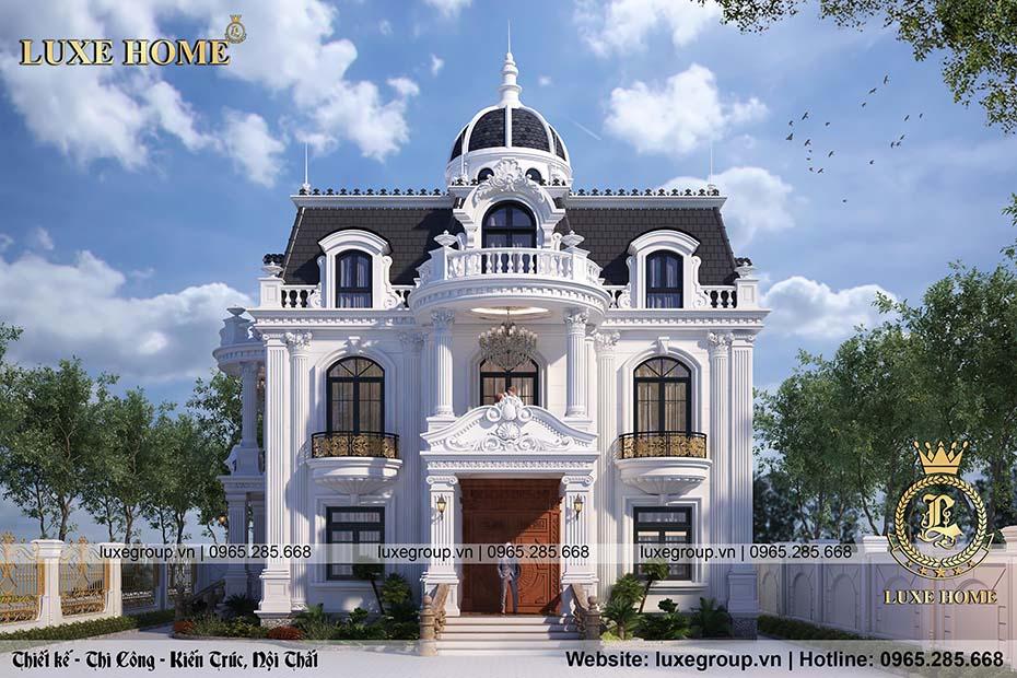 thiết kế dinh thự 2 tầng tân cổ điển dt 2226