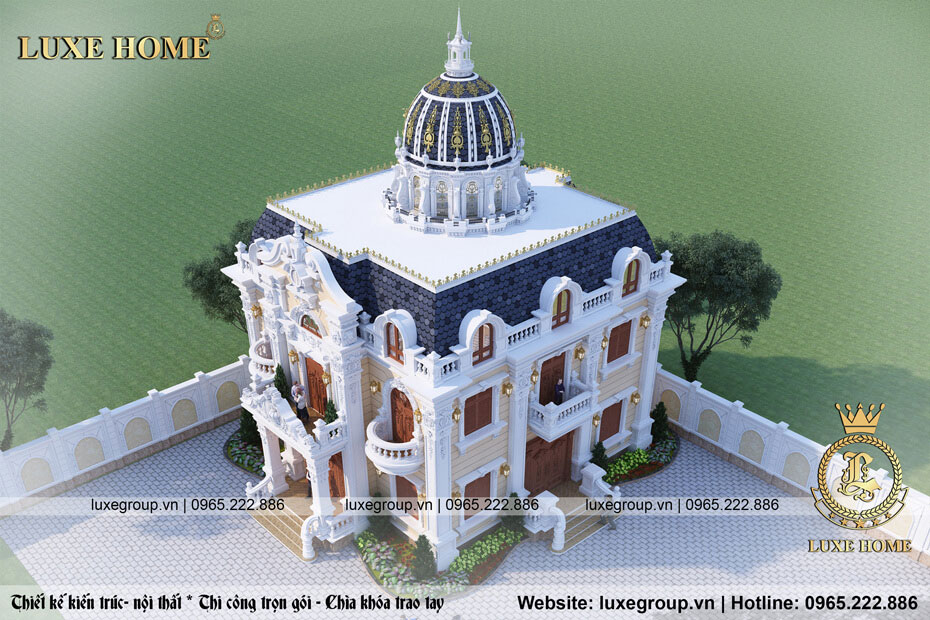 góc nhìn tổng quan lâu đài cổ điển