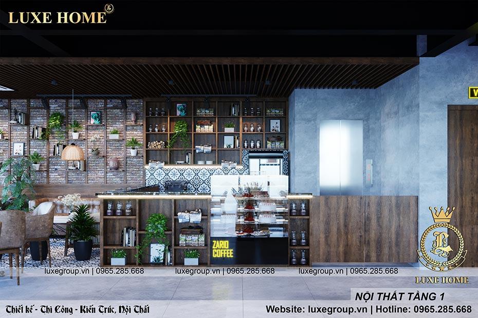 thiết kế nội thất hiện đại quán coffe tầng 1