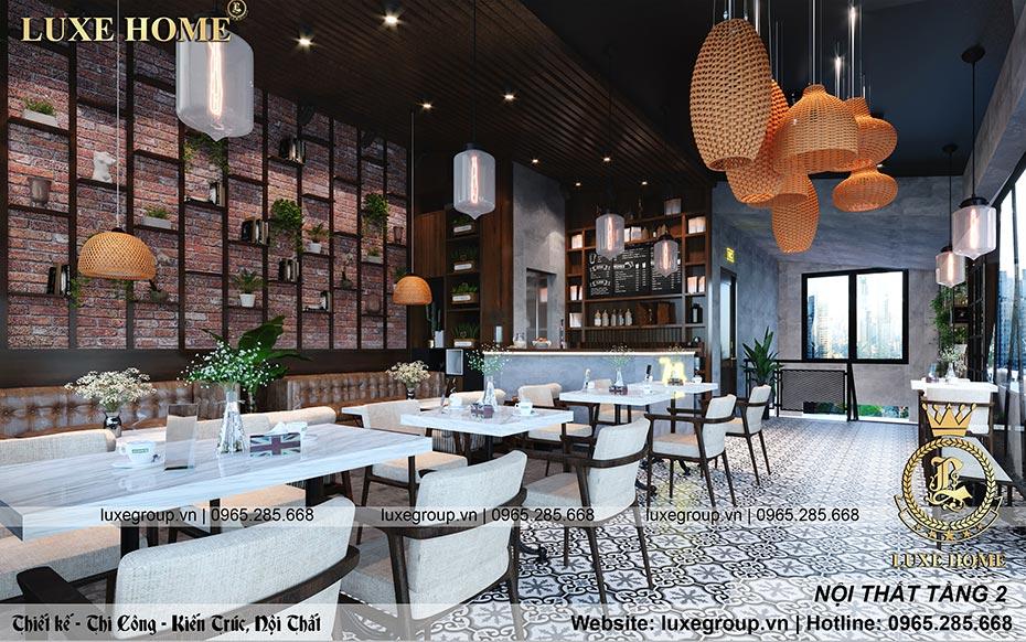 thiết kế nội thất hiện đại quán coffe tầng 2