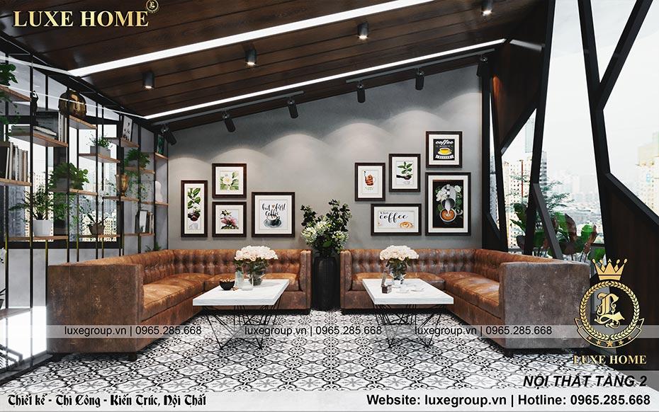 nội thất tầng 2 quán coffe