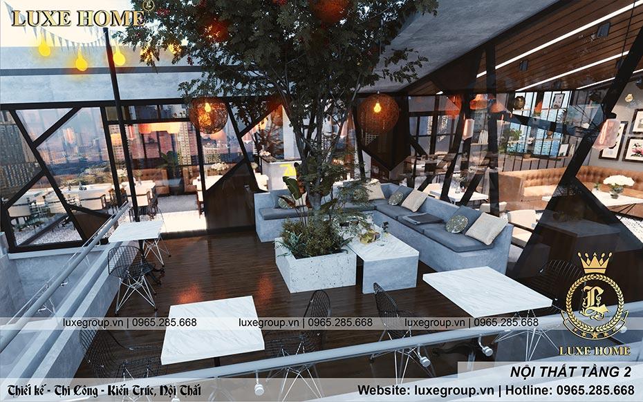 quán cafe với nội thất hiện đại