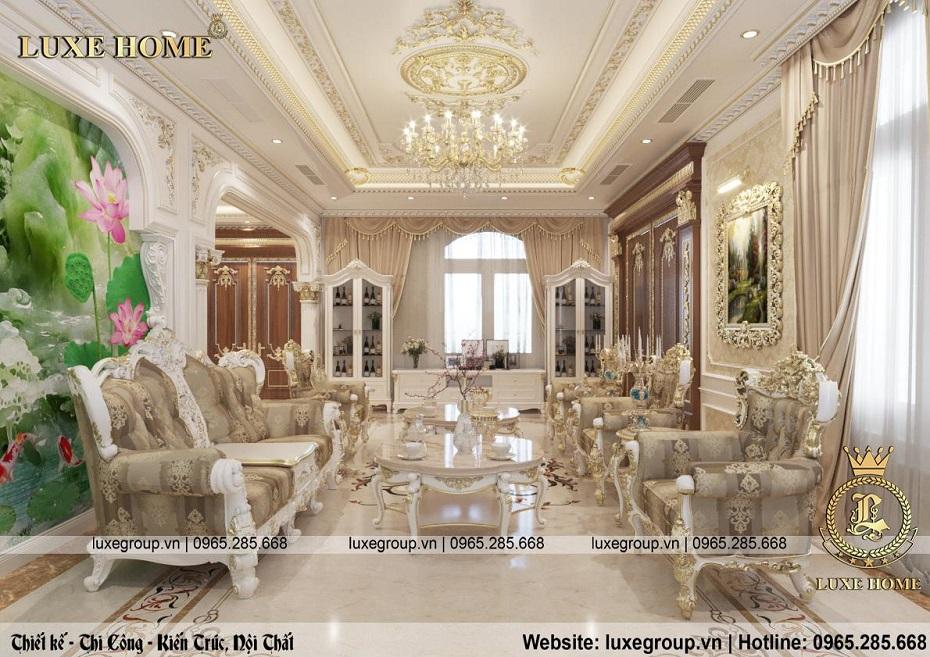 thiết kế nội thất biệt thự tân cổ điển đẹp bt 2253