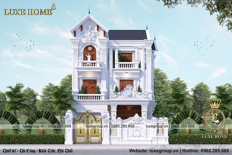 thiết kế biệt thự 3 tầng cổ điển pháp bt 3196