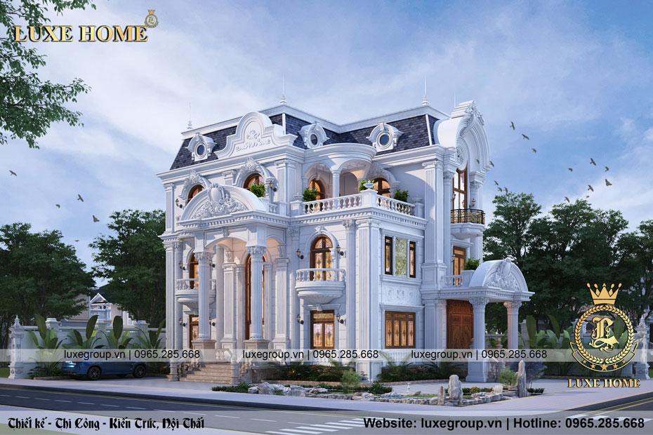 thiết kế biệt thự 3 tầng tân cổ điển bt 3141