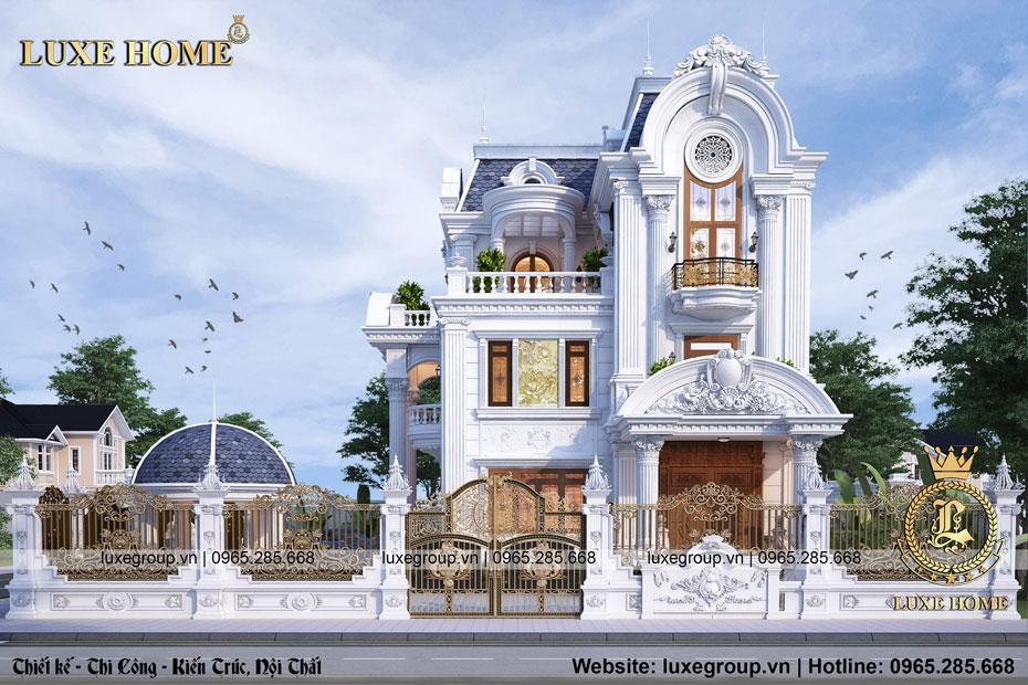 thiết kế biệt thự 3 tầng tân cổ điển pháp bt 3141
