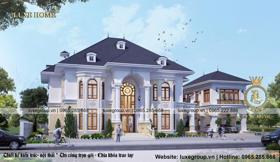 thiết kế biệt thự tân cổ điển 2 tầng bt 2124