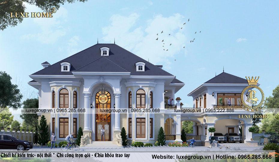 thiết kế biệt thự dinh thự 2 tầng tân cổ điển bt 2124