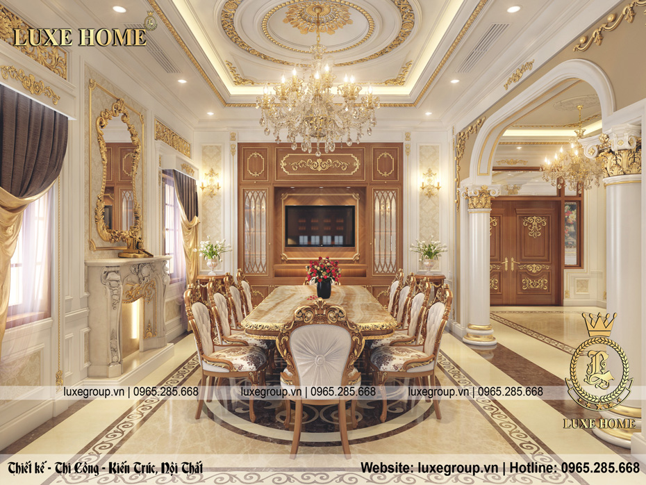 nội thất tân cổ điển dinh thự 2 tầng dt 2226 06