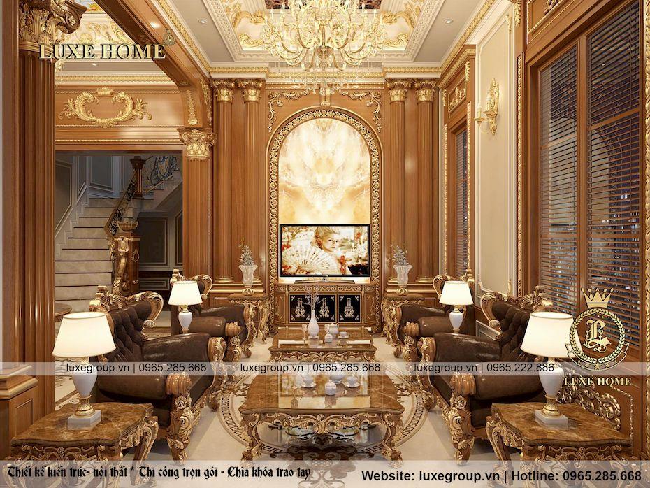 thiết kế nội thất lâu đài 2 tầng siều đẳng cấp ld 2228
