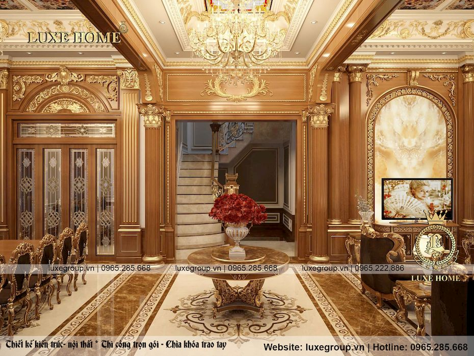 thiết kế nội thất lâu đài 2 tầng siều đẳng cấp ld 2228 03