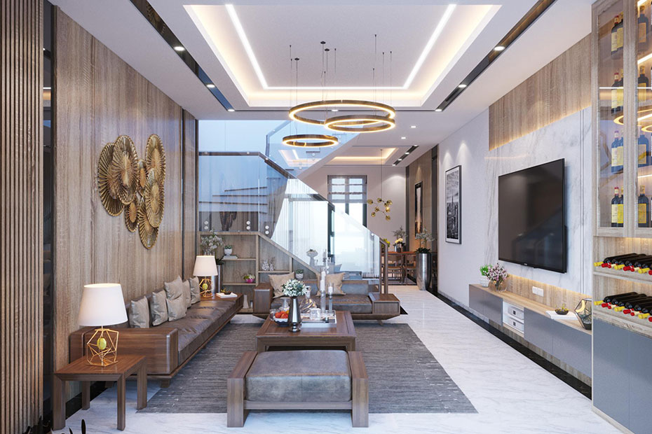 thiết kế nội thất phòng khách sang trọng