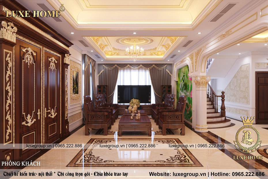 thiết kế nội thất biệt thự tân cổ điển bt 3236