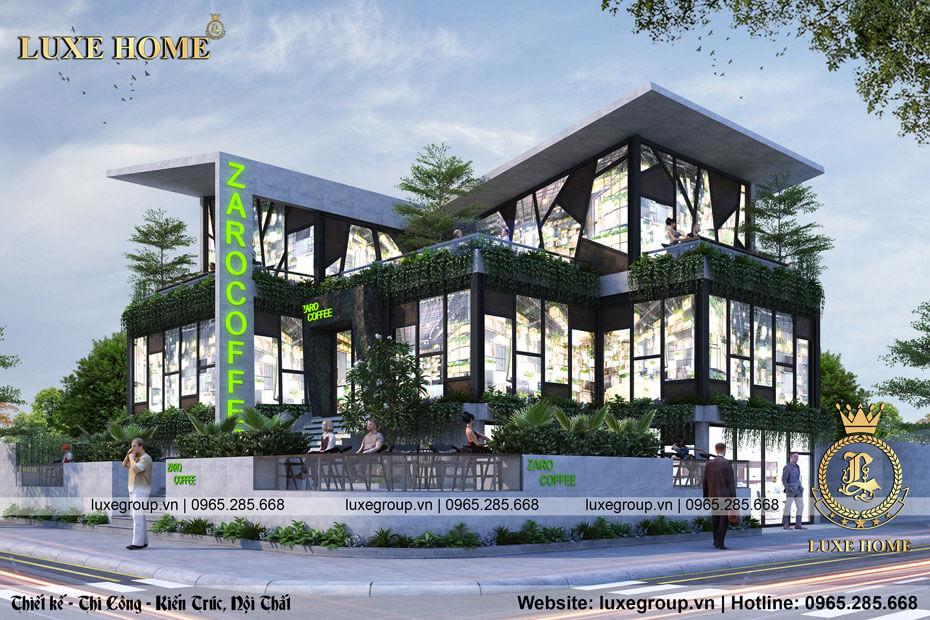 Thiết kế biệt thự 2 tầng quán cafe bt 21775
