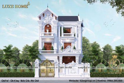 Thiết kế biệt thự 3 tầng cổ điển đẹp, sang trọng – BT 3196