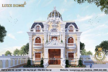 Thiết kế biệt thự lâu đài 2 tầng cổ điển Pháp sang trọng – BT 2227