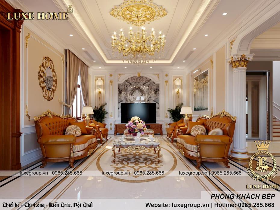 Thiết kế nội thất biệt thự tân cổ điển nhà Anh Khuê – NT 3242