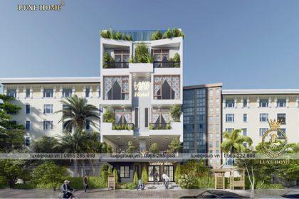 Thiết kế khách sạn 5 tầng mặt phố hiện đại có bể bơi – KS 5123