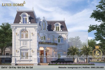 Đẹp mê với mẫu thiết kế biệt thự 2 tầng tân cổ điển – BT 2140