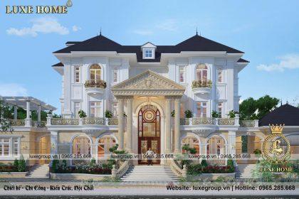 Thiết kế biệt thự tân cổ điển 3 tầng mái thái sang trọng – BT 3253