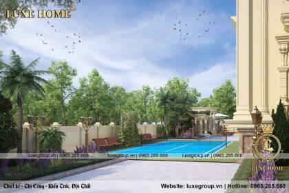 thiết kế bể bơi gara ô tô cho lâu đài