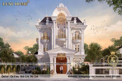 Thiết kế biệt thự tân cổ điển 3 tầng pháp mặt tiền 12x20m2 – BT 3252