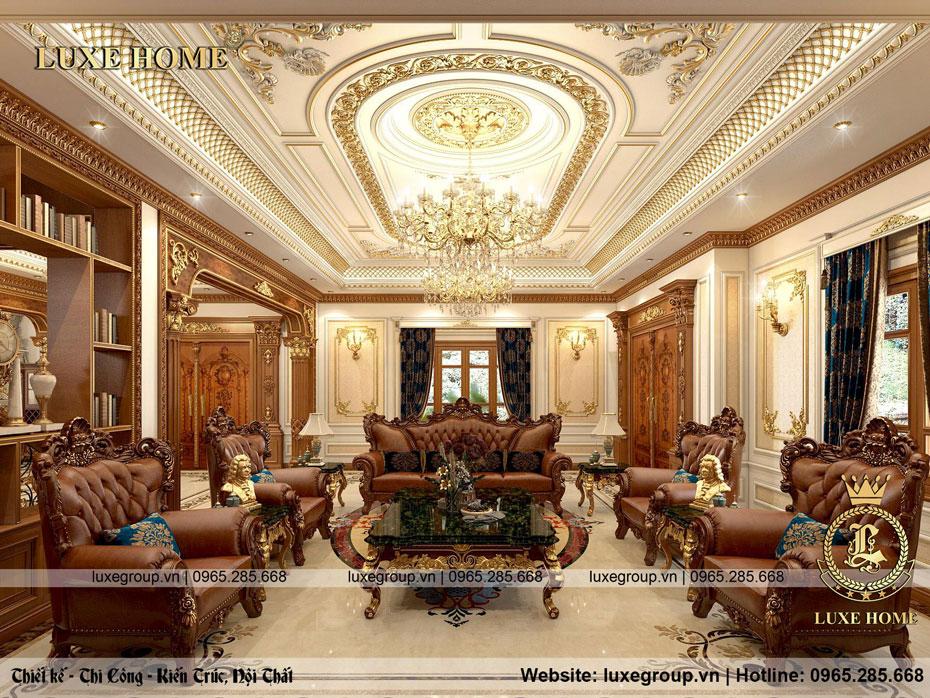 Thiết kế phòng khách lâu đài cổ điển đẳng cấp – NT 0158