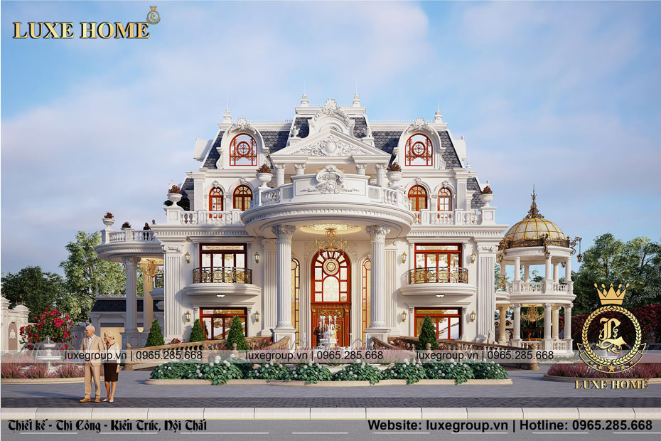 Thiết kế biệt thự lâu đài 4 tầng tân cổ điển pháp – BT 4120