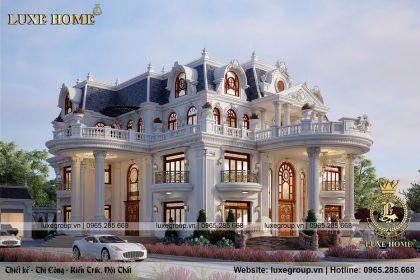 thiết kế biệt thự lâu đài 4 tầng tân cổ điển bt 4120