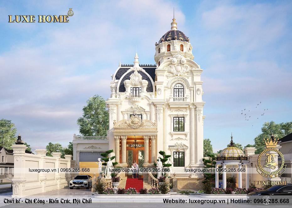 Thiết kế biệt thự lâu đài 4 tầng 2 mặt tiền lộng lẫy – BT 4124