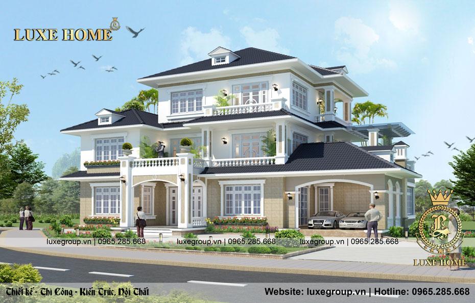 Tinh tế với mẫu biệt thự 3 tầng gara ô tô tại Đà Lạt – BT 3264