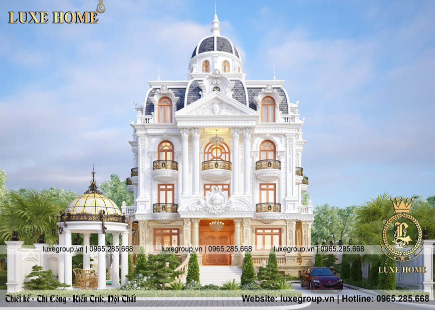 Thiết kế dinh thự 3 tầng 1 mái tân cổ điển – DT 3286