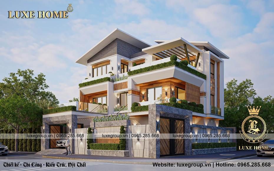 Thiết kế biệt thự hiện đại 3 tầng độc đáo – BT 3293