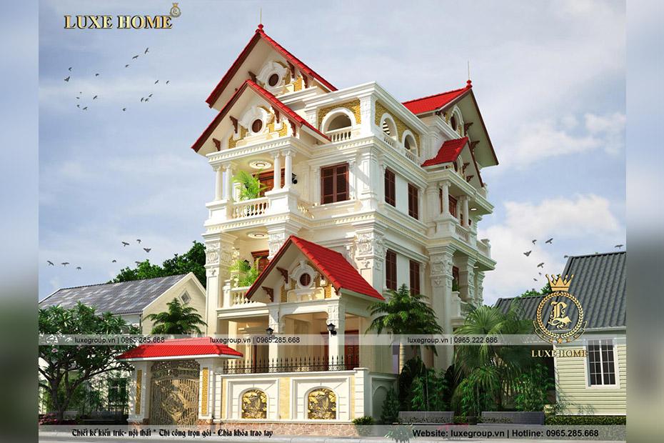 Thiết kế biệt thự 4 tầng cổ điển mái thái đẹp – BT 4117