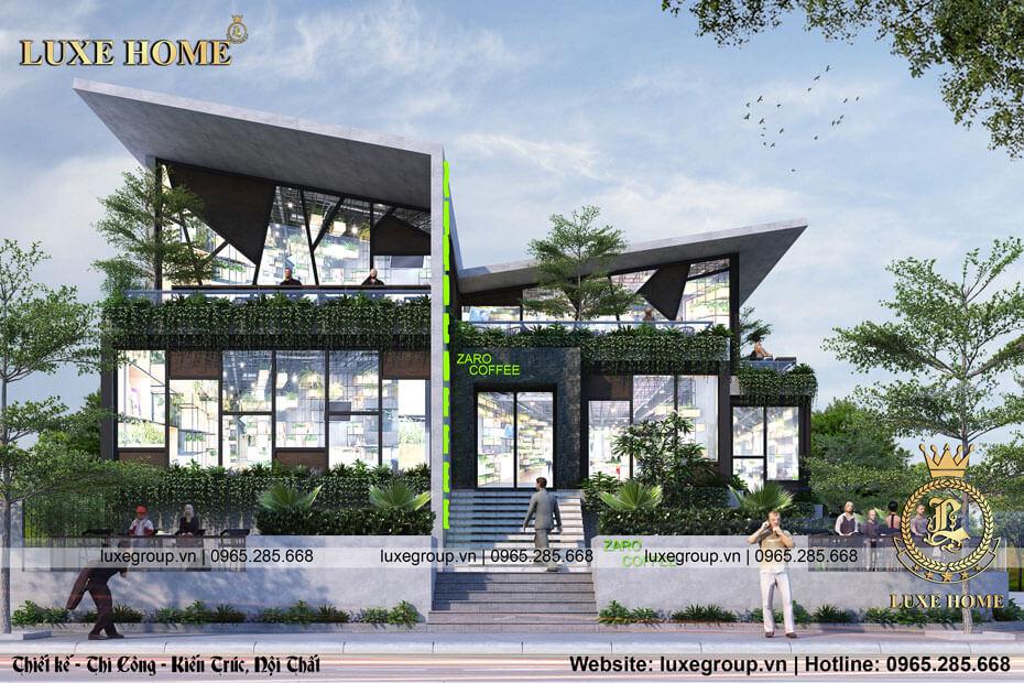 Thiết kế biệt thự kinh doanh quán cafe sang trọng, tiện nghi – BT 21755