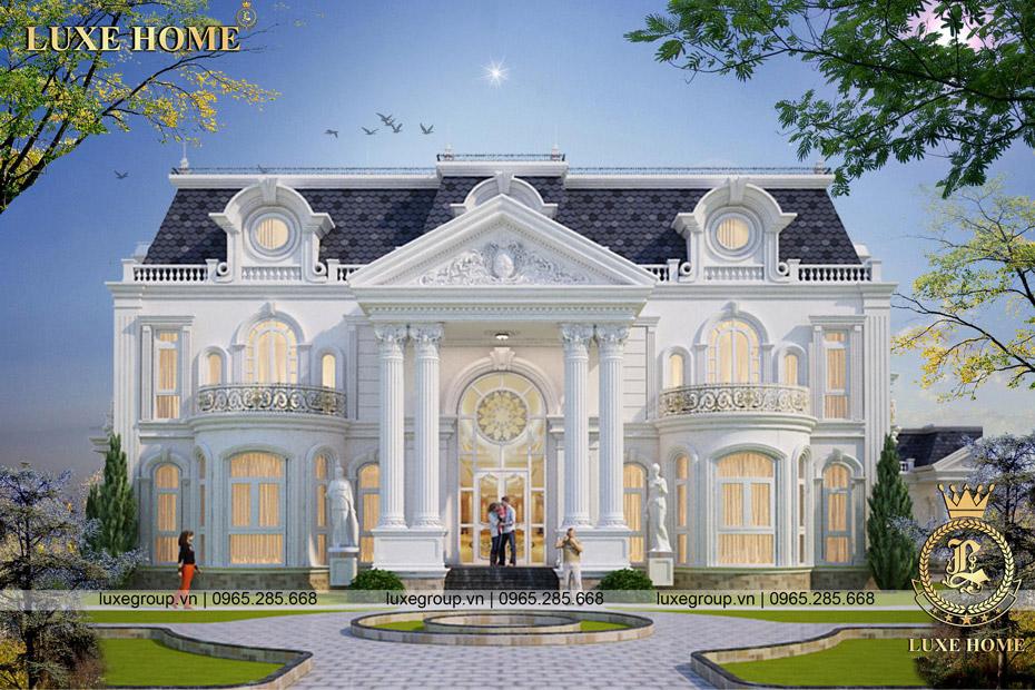 Thiết kế biệt thự dinh thự 2 tầng tân cổ điển pháp – BT 2258