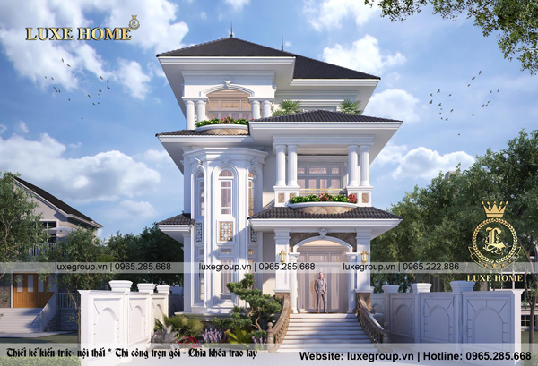 Thiết kế biệt thự 3 tầng tân cổ điển mái thái – BT 3224