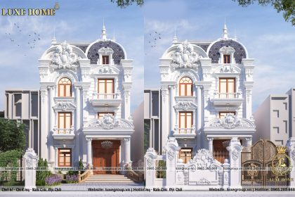 Thiết kế biệt thự phố 3 tầng cổ điển Pháp Bác Hoài – BT 3228