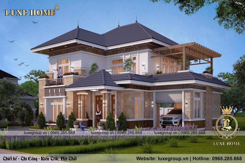 Thiết kế biệt thự hiện đại 2 tầng mái thái Sang – BT 2262