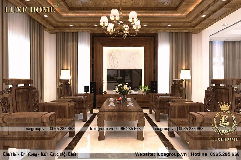 Thiết kế nội thất gỗ tự nhiên hiện đại nét xưa, trang trọng – NT 01415