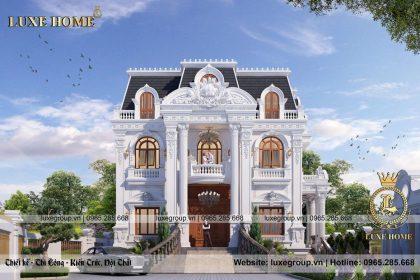 Thiết kế biệt thự cổ điển 2 tầng mái mansard đẹp – BT 2261