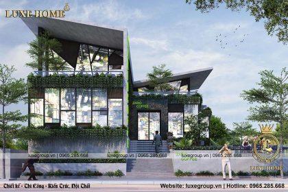 Thiết kế quán coffe 2 tầng tầng hầm để xe CS 2219
