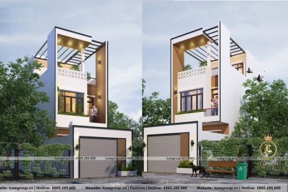 Thiết kế biệt thự phố 2 tầng 1 tum sang trọng – BT 2272
