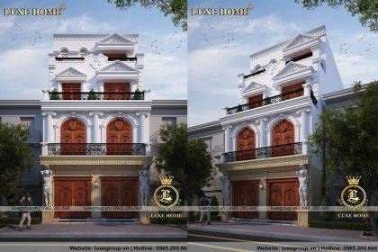 Mẫu thiết kế biệt thự 4 tầng tân cổ điển pháp – BT 41135