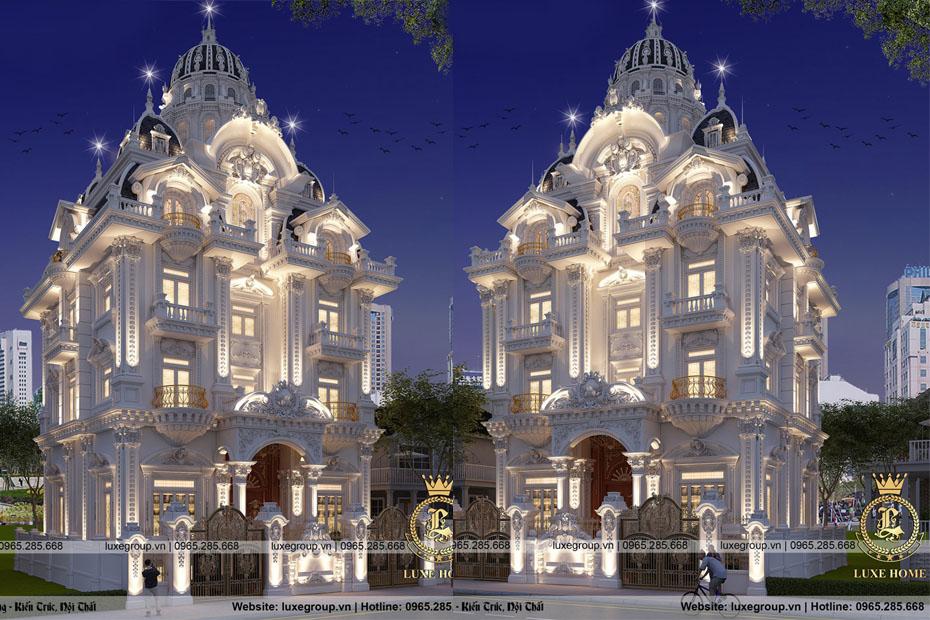 Thiết kế lâu đài dinh thự 5 tầng cổ điển đẹp lộng lẫy – LD 5117